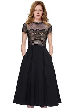 Lace Spliced Round Collar Short Sleeve Dress