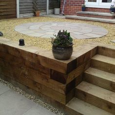 Image result for terrace at the top of timber retaining wall