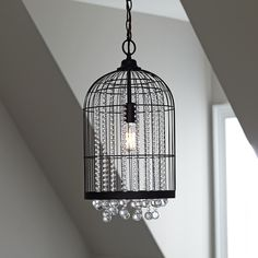 Birch Lane Preston Glass Beaded Pendant -- Surrounded by an antiqued bronze-finished frame, this one-light caged pendant steals the show with dangling, clear glass bead details.