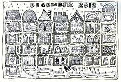 Всем поклонникам Зимних, Летних, Осенних и Весенних книг и раскрасок. Нашла вот такой календарь на декабрь, на первой необходимо прорезать ...