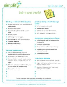 Free printable back to school checklist! 1. Stock up on School and Craft Supplies. 3. Declutter the bedrooms. 4. Update or Set Up a Family Message Center. 5. Declutter (or set up!) a Lunch Center. 6. Take care of Business!
