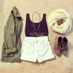 Army jacket, high waisted shorts, crochet tank, necklace, infinity scarf, and boots