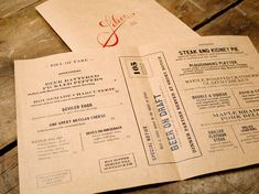 Check out this amazing branding by Oat Creative for the Saloon restaurant in Massachusetts. I absolutely love it - the only teeny tiny criticism that I would make is that I'm not sure how 'Saloon'-. Menu Restaurant, Restaurant Identity, Bar Menu, Restaurant Design, Vintage Restaurant, Restaurant Concept, Dinner Menu, Stationery Design, Branding Design
