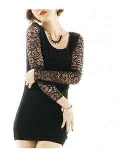 Lace Sleeved Body Fitted Dress