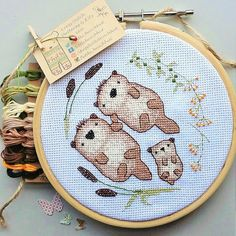 Otter Love - Cross Stitch Pattern (one and two pup patterns are included) kit available!