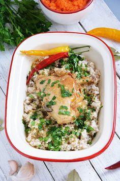 Moja smaczna kuchnia: Kurczak w sosie z kaszą jęczmienną