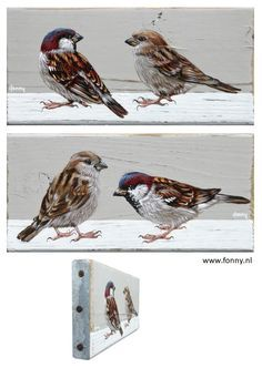 Mussen serie / Sparrow series - 5 & 6 - à 16 x 8 cm - Also English version available on my website http://www.fonny.nl/en/