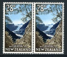 NZ Error 1968 28c Fox Glacier Westland National Park unh mint with Rare missing yellow