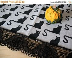 Linen Tablecloth Burlap Halloween Cat Black Natural Gray