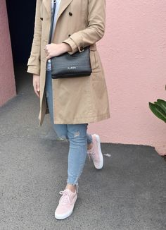 Pascale from NZ street style blog Serendipity Ave wearing pink Vans Pink Vans, Street Style Blog, Two Best Friends, Serendipity, Military Jacket, Coat, How To Wear, Jackets, Fashion