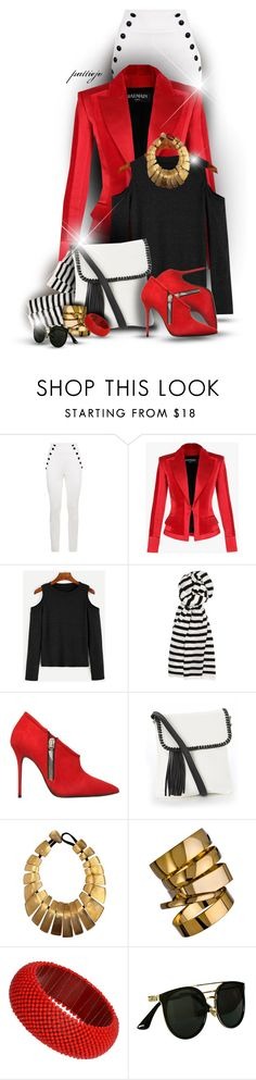 """The Cold Shoulder"" by rockreborn ❤ liked on Polyvore featuring Tommy Hilfiger, Balmain, White + Warren, Giuseppe Zanotti, Monies, A.V. Max and Chicnova Fashion"