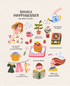 La felicidad en los pequeños detalles.   @anneliesdraws Happy Thoughts, Wisdom Thoughts, Positive Thoughts, Self Improvement, Self Care, Happy Life, Affirmations, Illustrations, Collage Illustration