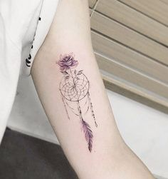 Small Rose Dreamcatcher Tattoo on Arm