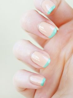 Saw a girl at the nail salon getting this done. Nude French manicure with a pop of color on the tip.