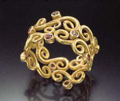 Scrolling+Flourish+Ring by Natasha+Wozniak: Gold+&+Sapphire+Ring available at www.artfulhome.com