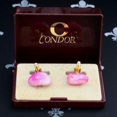 CONDOR Vintage Gents or Lady's Cufflinks Pink Natural Stones Original Box