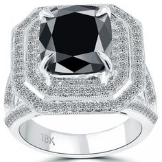 5.61 Carat Certified Cushion Cut Black Diamond Ring 18k Pave Halo Vintage Style