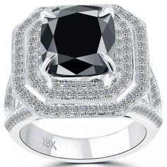 5.61 Carat Certified Cushion Cut Black Diamond Ring 18k Pave Halo Vintage Style