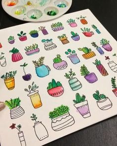 Plant doodles painted in vibrant colors