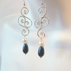 Wire Wrapped Pearl Earrings  Wire Work Bridal by TheWireRose, $20.00