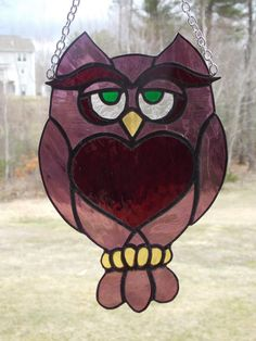 Wise Guy Stained Glass Owl in Magenta Decorative by RiffRaffGlass
