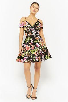Floral Open-Shoulder Fit & Flare Dress | Forever21