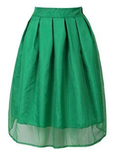 Green Sheer Organza Overlay Skater Midi Skirt | Choies