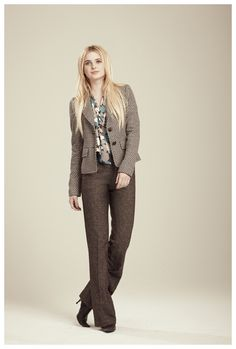 Francis Fall 2012 - Casey houndstooth knit blazer, Nan geo print blouse and Taylor tweed knit trouser