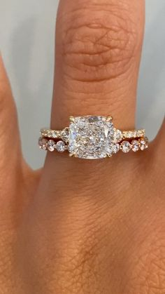 Radiant Cut Engagement Rings, Vintage Inspired Engagement Rings, Elegant Engagement Rings, Yellow Engagement Rings, Engagement Ring Shapes, Cushion Cut Engagement Ring, Three Stone Engagement Rings, Three Stone Rings, Wedding Ring With Band