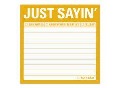 Just Sayin' Sticky – Just Plain Funny Sticky Note by Knock Knock #KnockKnockStuff