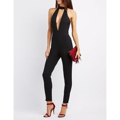 Charlotte Russe Mock Neck Keyhole Jumpsuit ($20) ❤ liked on Polyvore featuring jumpsuits, black, charlotte russe jumpsuit, jump suit, keyhole jumpsuit, charlotte russe and fitted jumpsuit