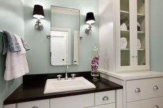 Contemporary Bathroom With Green Blue Paint Color, Rectangular Pivot Mirror  Flanked By Restoration Hardware Lugarno Sconces With Black Shades, ...
