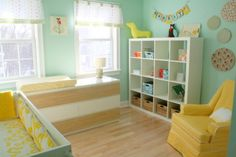 Like the thought of adding teal or aqua to the kids yellow room!