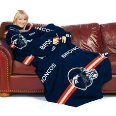 Free S/H NFL Denver Broncos Adult Comfy Throw Blanket with Sleeves