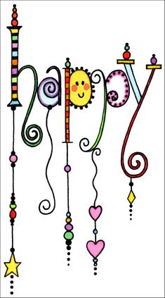 Happy Inspiration - Art World Doodle Lettering, Creative Lettering, Hand Lettering, Zentangle Patterns, Zentangles, Chalkboard Art, Doodle Art, Word Art, Stencil