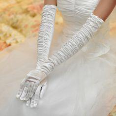 Full finger stretch satin wedding gloves