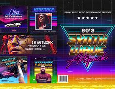 """""""80's Synthwave Photoshop Templates"""" http://be.net/gallery/54027671/80s-Synthwave-Photoshop-Templates"""