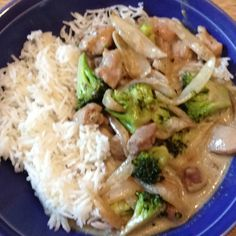 Voila! Dinner is served (chicken with green curry over rice). Not the best pic but it was good.