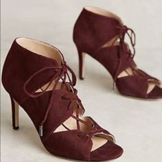 """New in box Via Spiga Vibe Heels - Size 8.5 Details: Sizing: True to size.  - Open toe - Lace up vamp - Suede construction  - Suede lace closure  - Approx. 3 1/2"""" heel height  - Approx. 4"""" shaft height, 10"""" opening circumference Via Spiga Shoes Heels"""