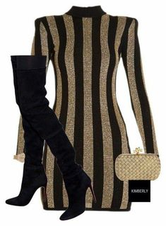 black and gold dress with knee high boots schwarz-goldenes Kleid mit kniehohen Stiefeln Glamouröse Outfits, Classy Outfits, Fall Outfits, Casual Outfits, Fashion Outfits, Womens Fashion, Fashion Trends, Casual Clothes, Dress Fashion