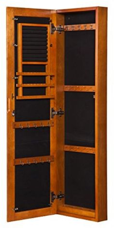 Wall Mount Armoire Jewelry Storage Cabinet Locking Mirror Antique Box Wood #SouthernEnterprises