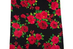 Red and Black Floral Print knit Jersey Fabric 1 by felinusfabrics