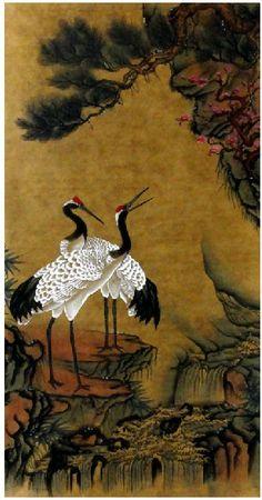 Chinese Painting: Crane - Pine - Chinese painting(Semi-manual) CNAG232934 - Artisoo.com