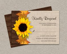 DIY Printable Fall RSVP Cards With Sunflower And Leaves by iDesignStationery, $5.95  #Rustic #Wedding #Etsy #Fall