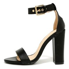cb88490e982b Savvy shoppers know a cute shoe like the Galleria Black Ankle Strap Heels  when they see one! These versatile high heel sandals have a black vegan  leather ...