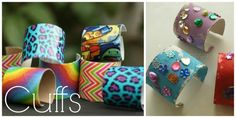 Easy art projects for kids. Toilet roll cuffs and cardboard roll bracelets Diy Arts And Crafts, Diy Craft Projects, Creative Crafts, Projects For Kids, Crafts For Kids, Diy Crafts, Cardboard Tube Crafts, Paper Towel Roll Crafts, Cardboard Rolls