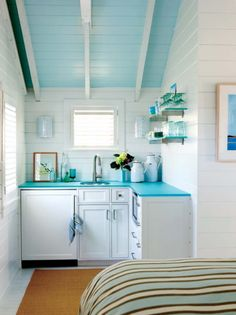 Cute kitchenette for small space. something like this in the casita? via House of Turquoise - Model Home Interior Design Hay Design, Deco Design, Layout Design, Design Ideas, House Of Turquoise, Turquoise Kitchen, Aqua Kitchen, Turquoise Cottage, Tropical Kitchen