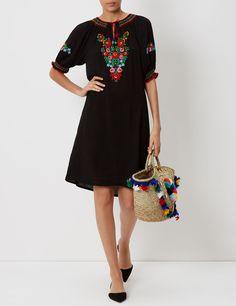 Black Floral Embroidered Eva Dress | Muzungu Sisters | Avenue32