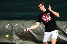 Andy Murray of Great Britain during a practice session on day two of the Wimbledon Lawn Tennis Championships at the All England Lawn Tennis and Croquet Club at Wimbledon on June 24, 2014 in London, England.