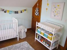 Minty walls and White Jenny Lind Crib. This is what we are doing! Jenny Lind Cribs are affordable and cute.